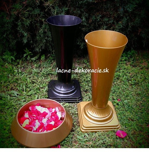 Szemikowie Plastová váza Flakon 2 slim metal, zlatá